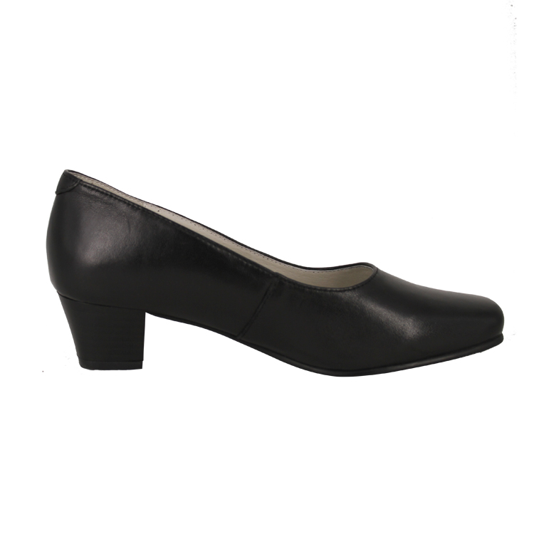 Fashion black leather single shoes for women