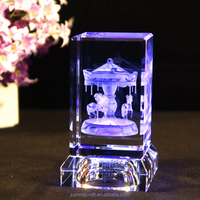3d laser carousel antique new baby gift crystal