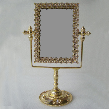 Rectangle Shaped Gold Crystals Stones Jeweled Tabletop Swing Mirror