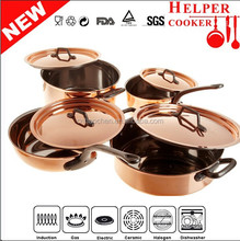 2014 innovative product new business ideas Stainless steel cook set with yellow metalic painting