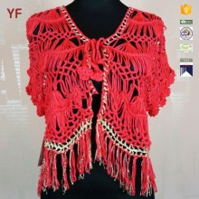 New Design Metallic Yarn Tassel Crochet Knitwear for Women