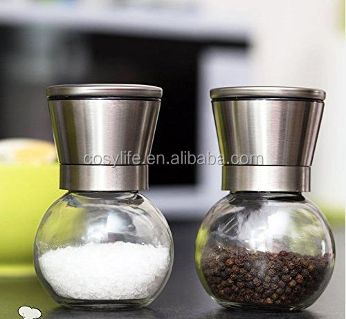 manual glass spice bottle grinder/pepper and salt mill 6 Oz Glass Body and 5 Grade Adjustable Ceramic Rotor