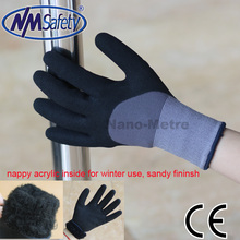 NMSAFETY winter machine operation work glove 13G double liner inner acrylic with black nitrile coating sandy finish
