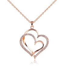 2016 Wholesale price Top quality Gold plated double heart crystal pendant necklace