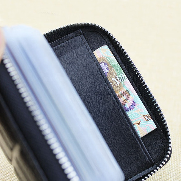 Plaid leather card holder card cover Multifunctional wallet PVC page vertical document holder