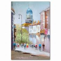 High quality 3d canvas abstract muslim busy street art painting themes