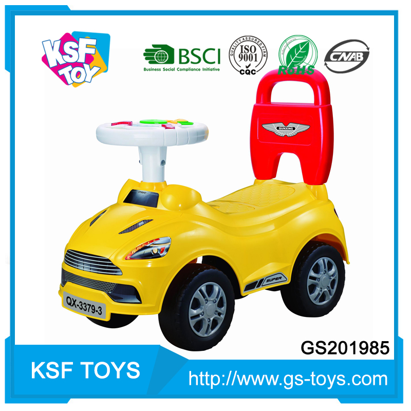 made in China cartoon children manual ride on car with music steering wheel