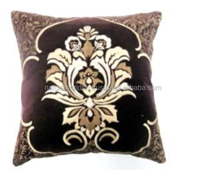 Damask Pattern Velvet with All Over Embroidery Cushion Cover