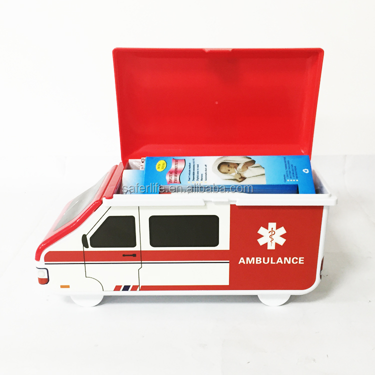 Lovely ambulance car shape first aid kit medical emergency kit cases child bus shape first aid box