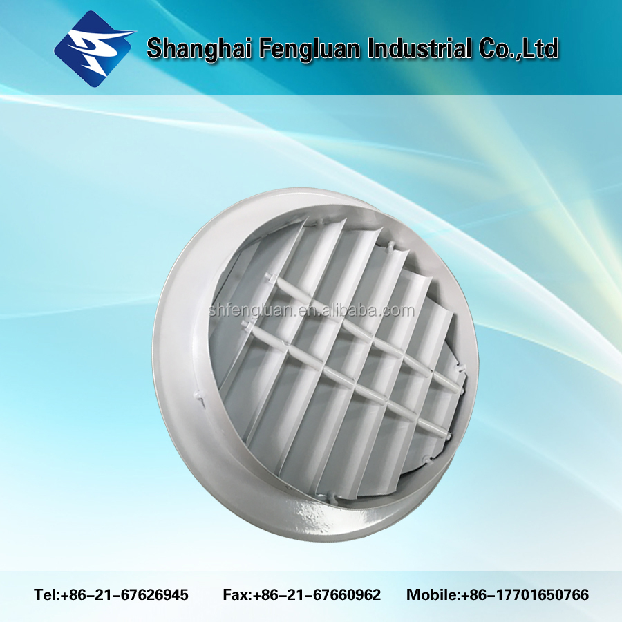 Aluminium round wall outlet inlet indoor air vent with louver waterproof