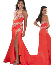 Orange Halter Backless Pageant Dress Party Dress with Rhinestones RO11-20