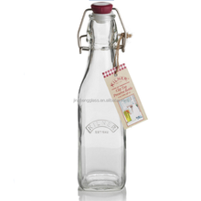 8OZ swing top metal clip rubber seal clear glass water bottle wholesale
