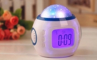 Amazing Fun Projector Clock Sky Star Ceiling Projecting Atmosphere Colorful Lighting Alarm Clock Children Sleeping Led Clock