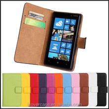 Manufacturer Wholesale Colorful Genuine Leather mobile phone flip case For Nokia Lumia 820