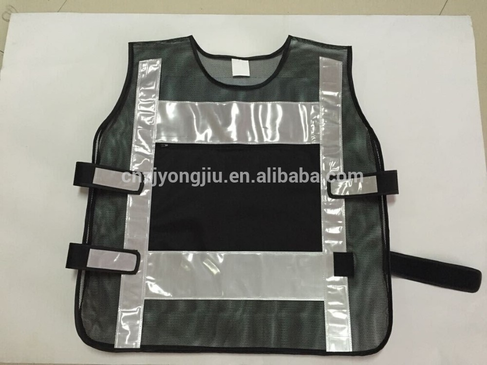 Black mesh reflective safety vest with a big pocket