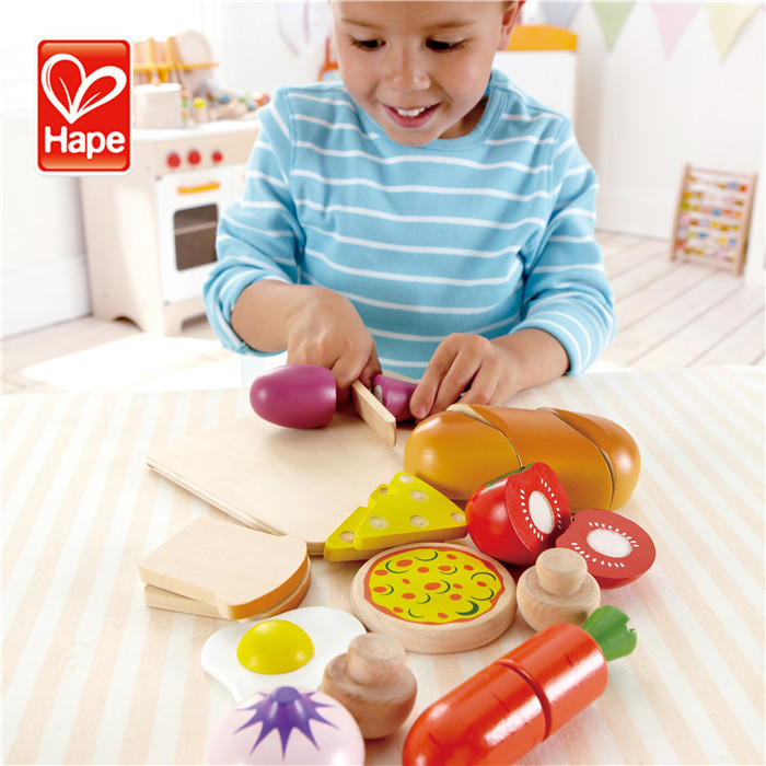Hape brand High quality water based paint safety wooden child cutting fruit toy