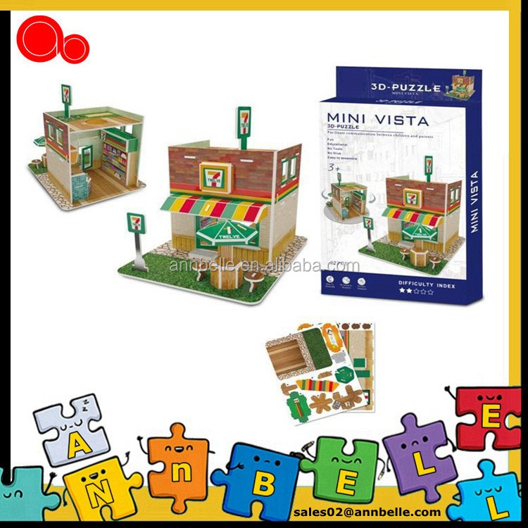 Hot selling 3D mini store puzzle for kids small house puzzle promotion 3D shop puzzle