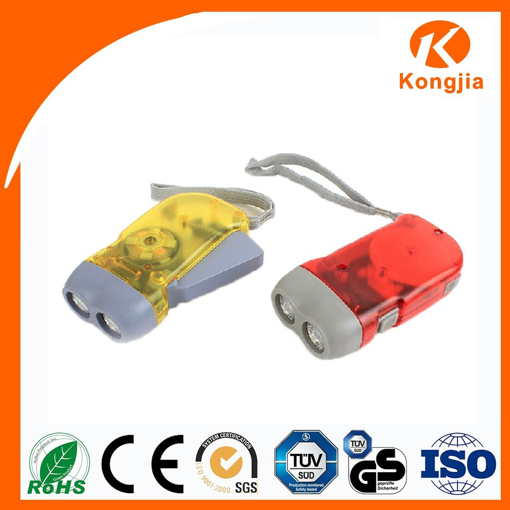 Emergency Rechargeable ABS Portable Hand Crank Flashlight Double Power Shake Flashlight