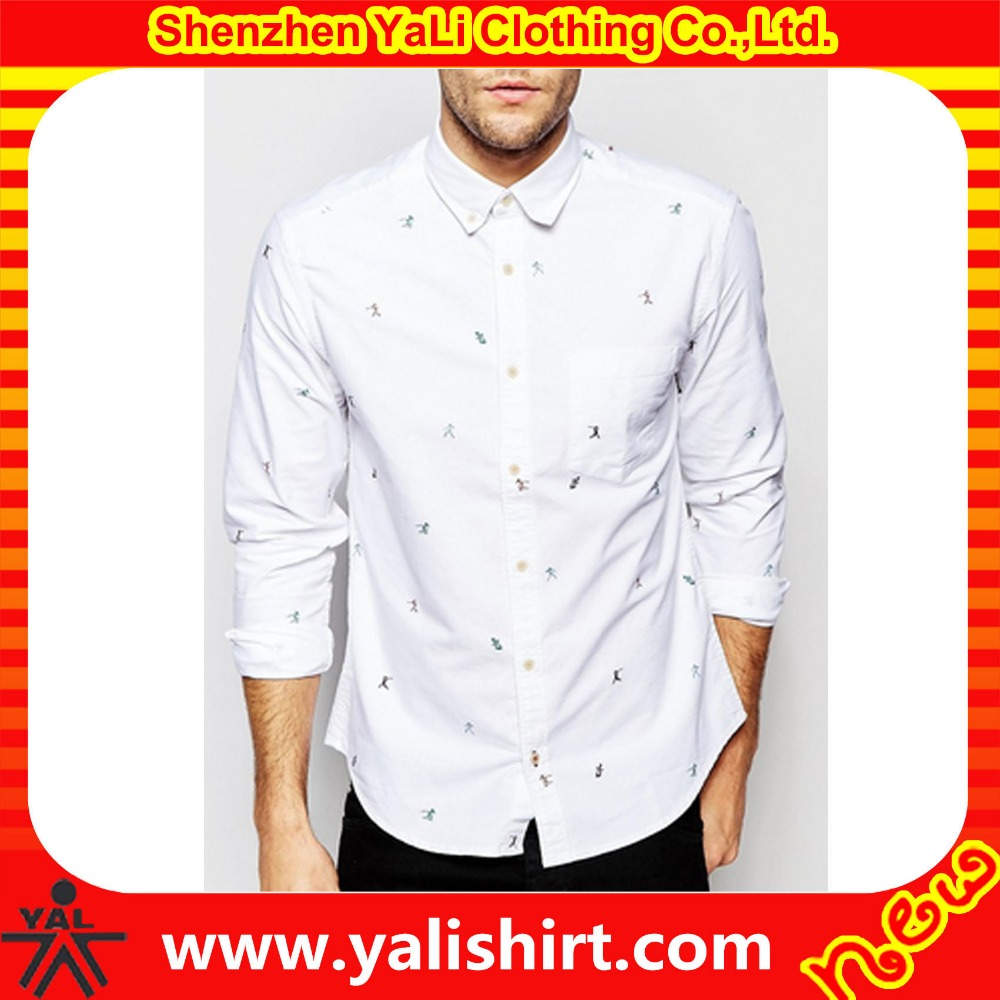 Top quality oem one pocket white cotton button down long sleeve all over print latest new model shirts