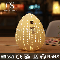 Home decorative egg shape table light with carved hole
