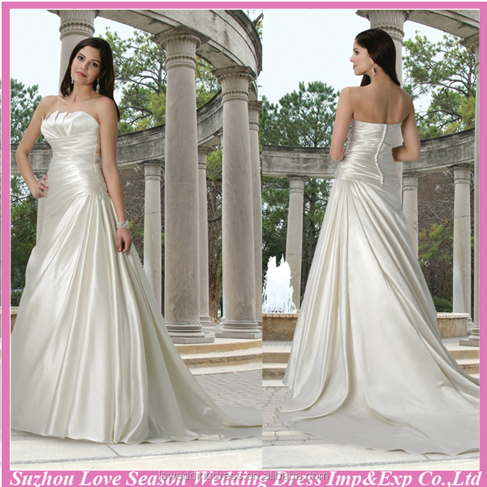WD0529 sleeveless crumb-catcher neckline A line chapel train satin strapless wedding gown with ruched bodice