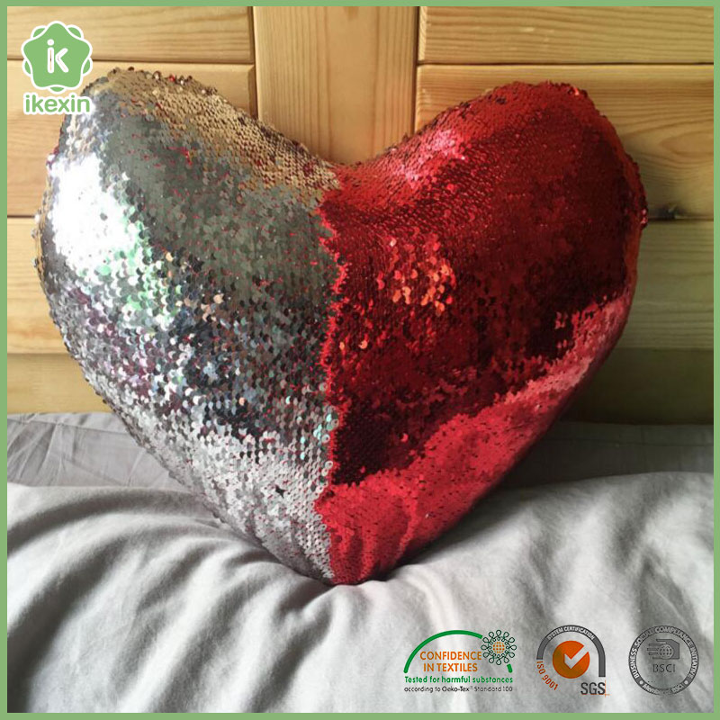 Reversible Heart-Shaped Mermaid Sequin Pillow