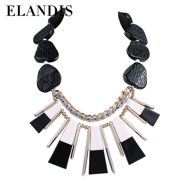 E-ELANDIS Luxury jewelry crystal necklace black acrylic neckalce autumn fashion handmade necklaces for women NL13467
