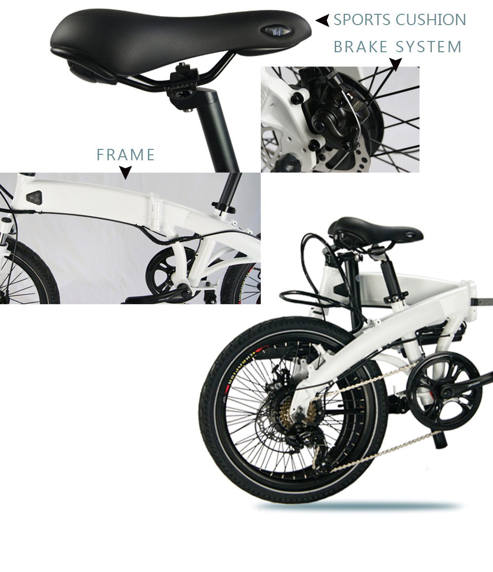 "20"" electric small folding bicycle with pedal assist system"