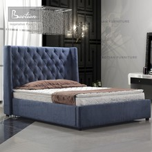 Bedroom Furniture Solid Wood Leather Bed For Home and Hotel Golden Furniture
