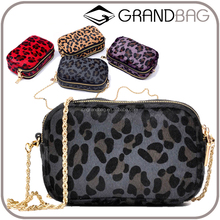 fashion mini leopard horse hair chain woman crossbody shoulder bag with 2 zip compartments