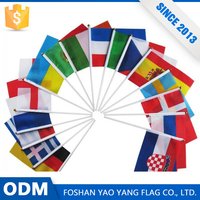 Direct Factory Price Custom 100%Polyester Hand Flags With Plastic Pole