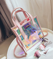 Fashion clear laser shopping beach bag transparent PVC women tote bag