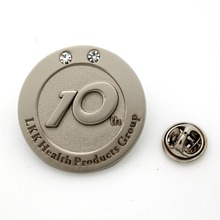 Fashion embossed silver Button Pin badge