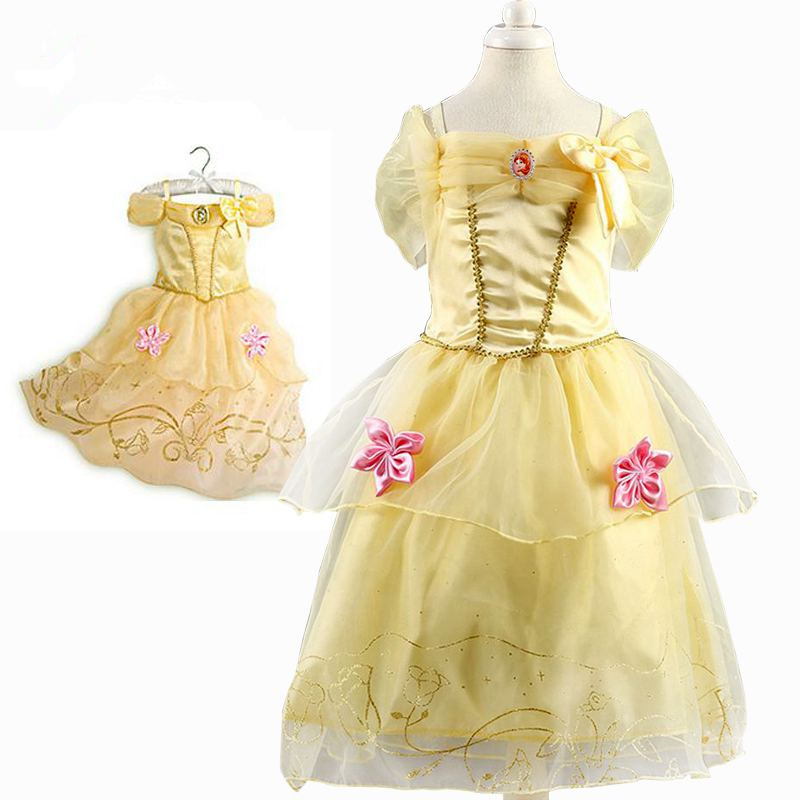 Girls Princess Belle Dresses Kids Cosplay Costume Clothing Children Rapunzel Cinderella Sleeping Beauty Sofia Party Dress