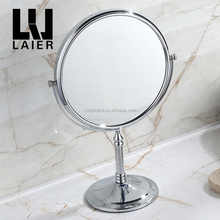 wholesale bathroom set tabletop round compact makeup bath mirror metal magnifying cosmetics mirror for hotel