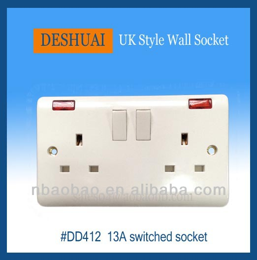 Double 13A 2gang UK Switched Socket Double Pole+Neon