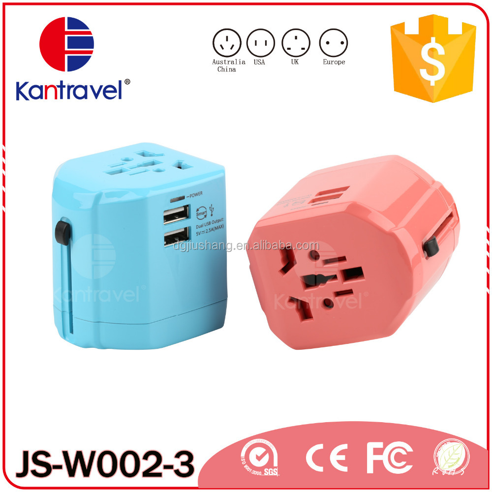 W002 Fashion portable world universal travel adapter with dual usb a male to female plug socket universal charger for <strong>electric</strong>