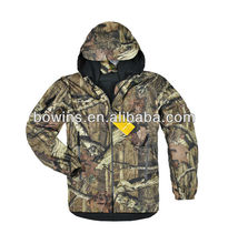 mens 100% polyester fleece camo pattern waterproof hunting jackets