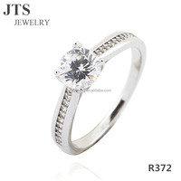 2016 Hot Sale Wedding Bands or Rings 18K White Gold CZ Synthetic Diamond Jewelry Classic Design for Lovers R372