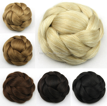 Wholesale Bride Hair Bun Elastic Drawstring Chignon Pick Clip in Fake Chignon Hair Updo Synthetic Hair Bun 6 Colors