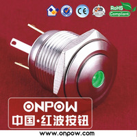 Since 1988 ONPOW CE,ROHS 16mm dot illuminated push button long terminal switch