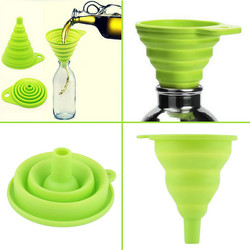 New design food grade folding colorful silicone ear funnel oil glass canning funnel