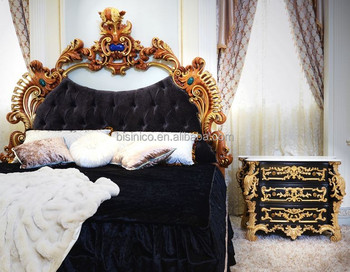 French Luxury Rococo Design Bedroom Furniture Nightstand Table / Golden Carved Wooden Commode Bedside Table