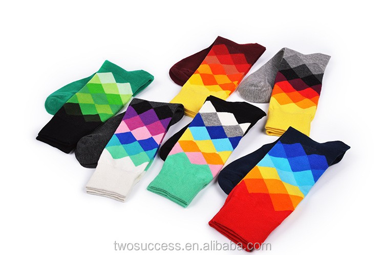 design cotton black happy men tube socks