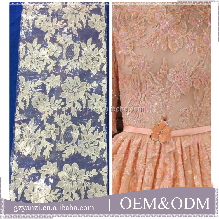 Hand designs white wedding 3D embroidery bridal lace fabric wholesale for dress material
