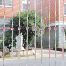 China decorative acrylic crystal pink flower beaded door curtain for wedding