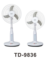 Hot selling 16 inch rechargeable fan with LED emergency light