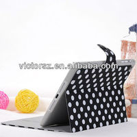 Black with White Dots Leather Stand Case for iPad mini,card holder