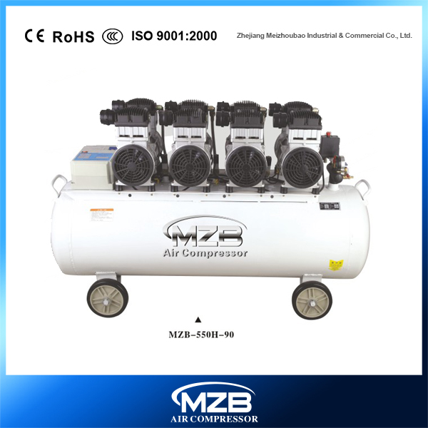 90L 3/4hp 4 motors dental silent air compressor