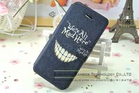 We're all Mad Here Laugh Case Mobile Cell Phone Stand Wallet Printed Leather Card Cover for iPhone 5 5S